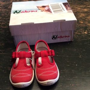 Naturino Red Mary Jane Sneakers Girl Sz 3